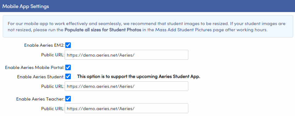 School Options - Mobile App Settings