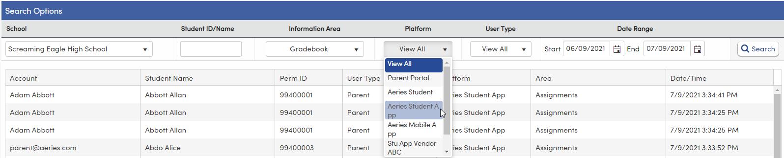 Portal Usage Log - Platform filter