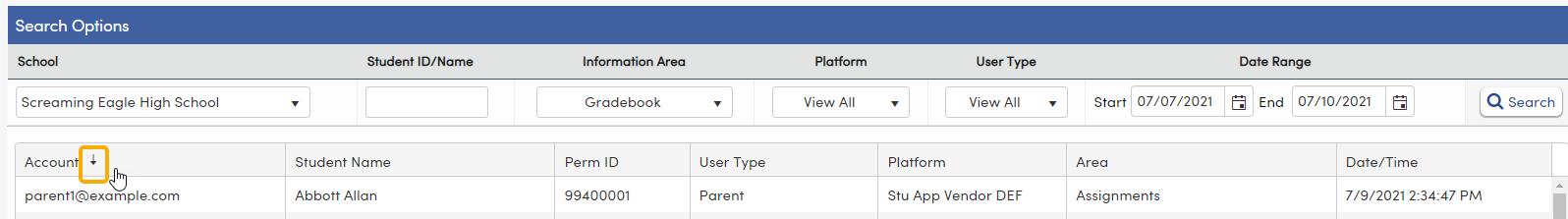 Portal Usage Log - Sort column