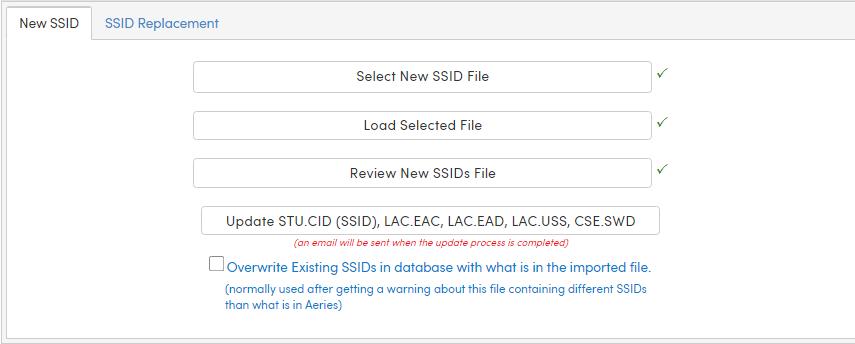 New SSID tab functions