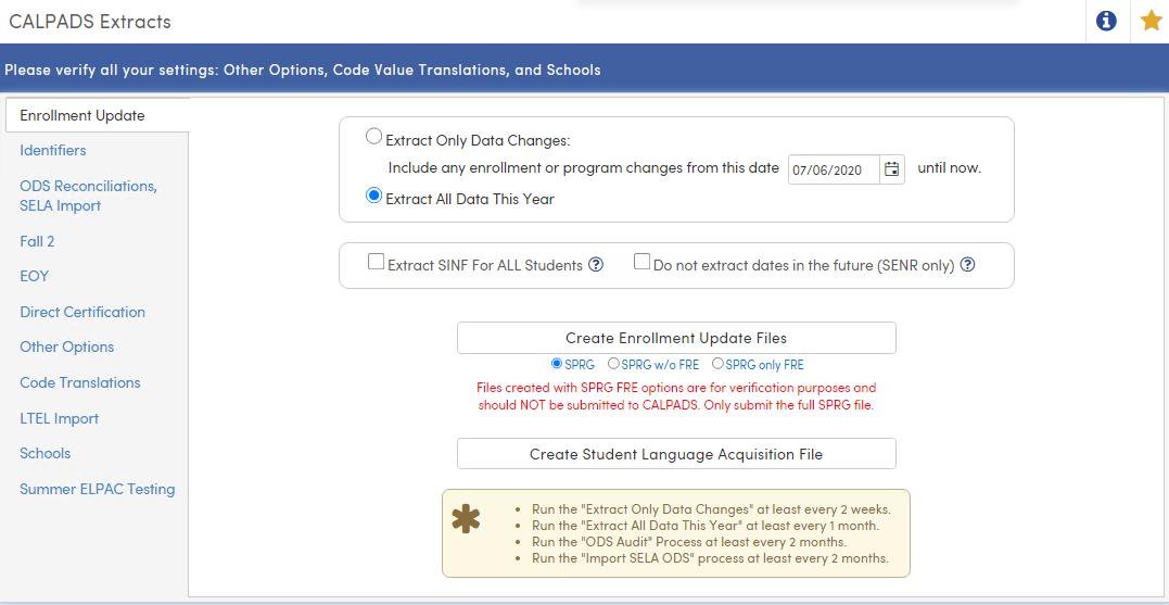 Enrollment Update Tab