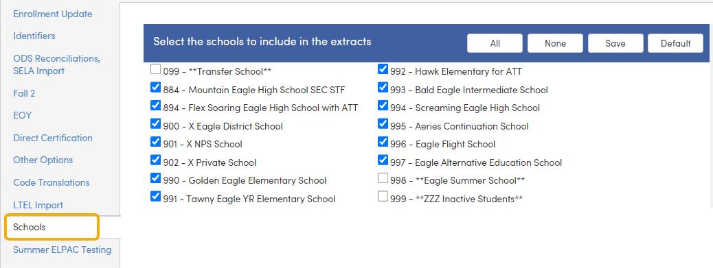 Schools tab