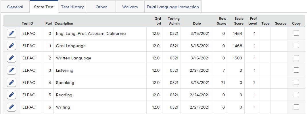 Language Assessment - State Test tab