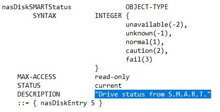 Auszug Buffalo-NAS-MIB mit den Statuswerten -2 (unavailable), -1 (unknown), 1 (normal), 2 (caution) und 3 (fail) mit Stand 09.02.2018