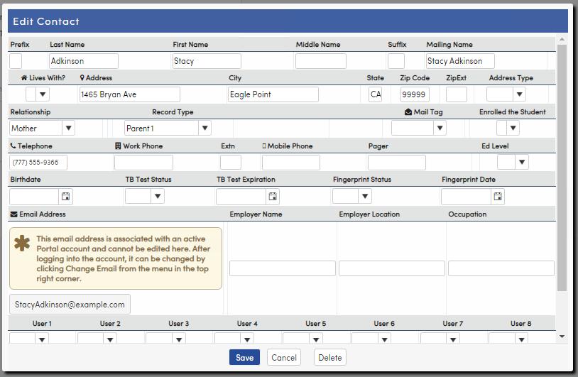 Contact edit form