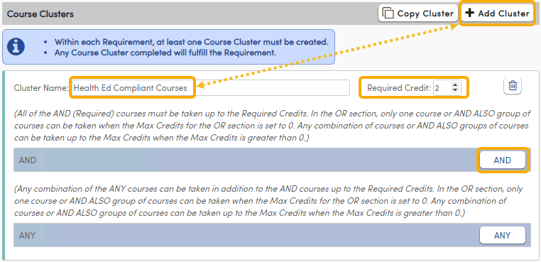 Add Course Cluster