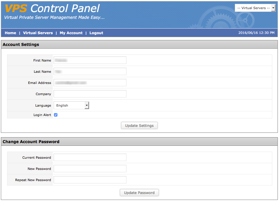 Changing the Login Password to the SolusVM Control Panel