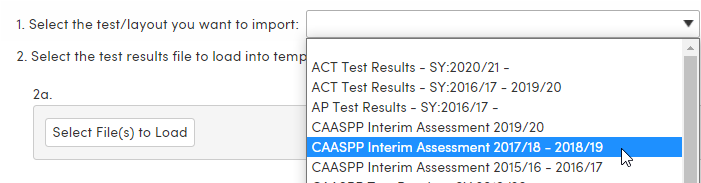 Import Test Results - Select test/layout to import