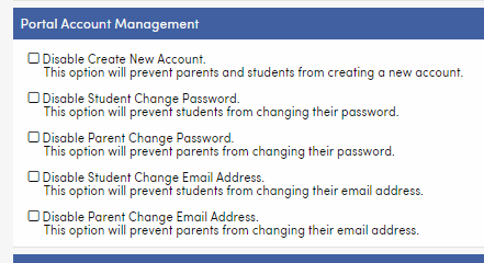 Portal Account Management Options in District School Options