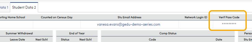 VPC Code displayed on tab 2 of Student Demographics