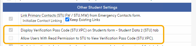 VPC code options in District Settings