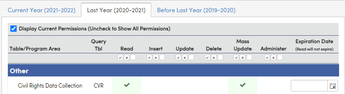 Security - Read and Mass Update permissions selected for 2020 - 2021 school year