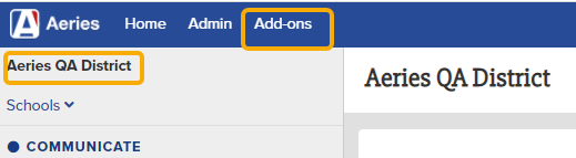 the Add Ons tab at the District level