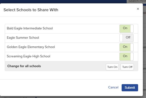 School share popup window