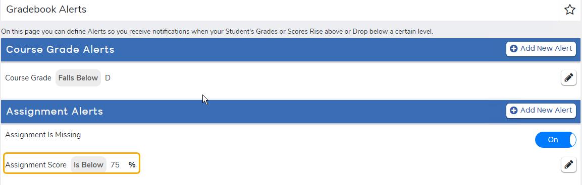 Gradebook Alerts that have been configured