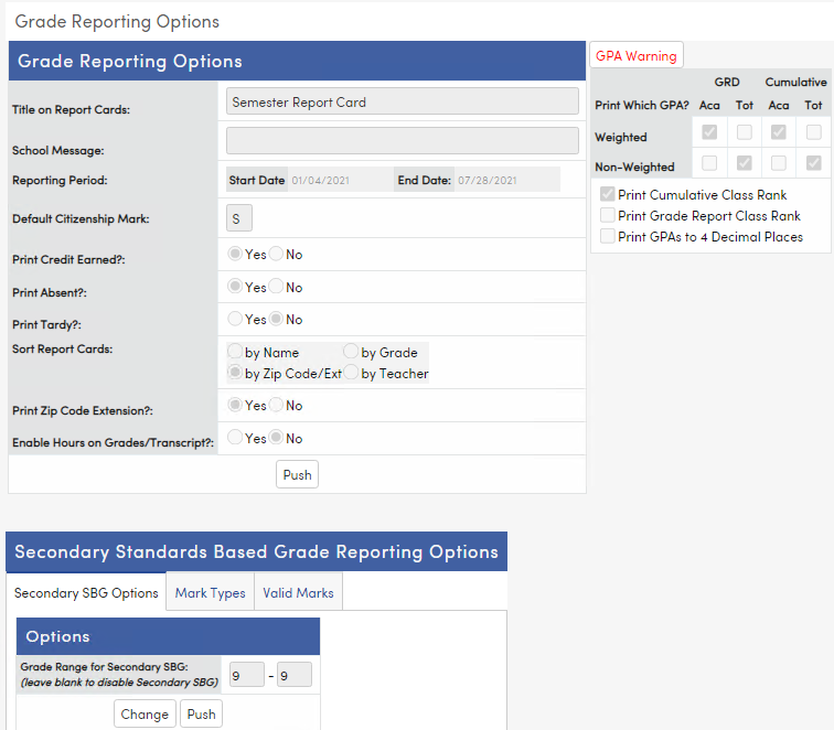 Grade Reporting Options page