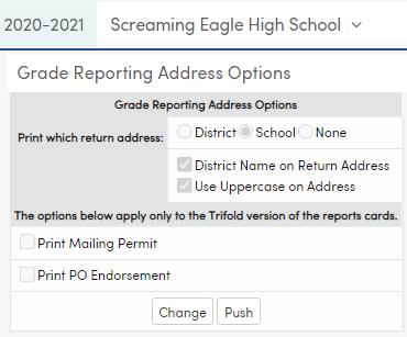 Grade Reporting Address Options