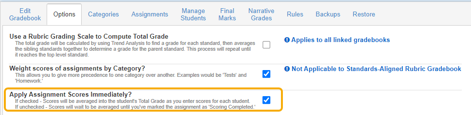 Gradebook Options - Apply Assignment Scores Immediately Option