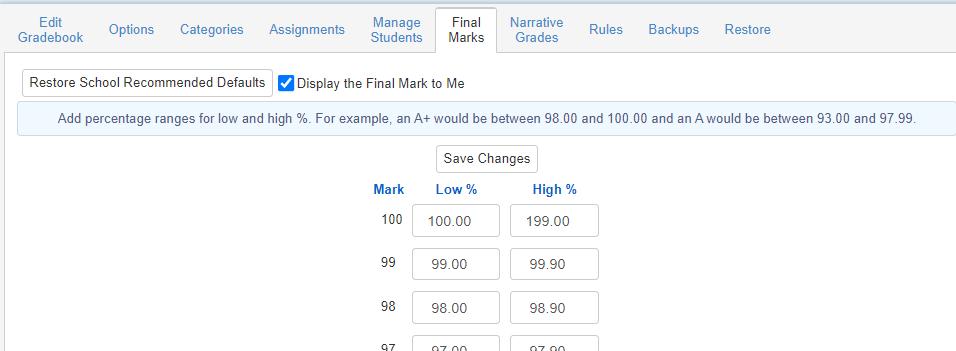 Gradebook - Final Marks tab