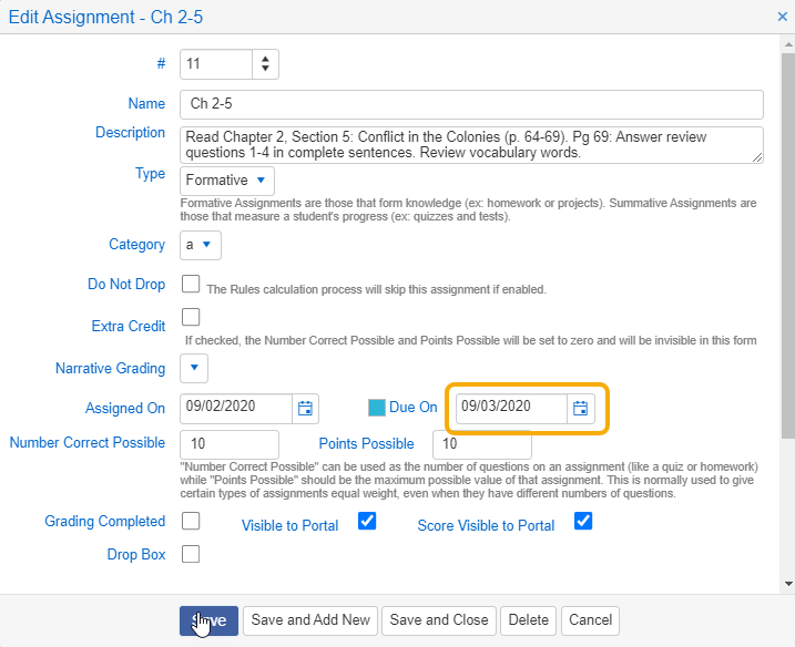 Gradebook - Edit Assignment - Due On date used to determine if assignment will be included in the Grading Snapshot calculation