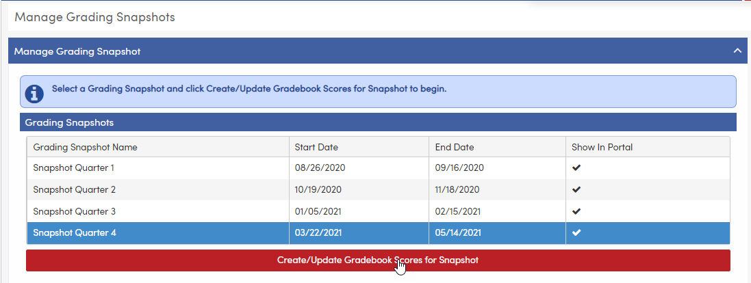 Manage Grading Snapshots - creating a Grading Snapshot for Quarter 4