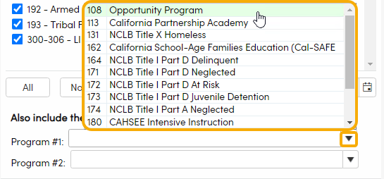 View of additional programs available to include in report
