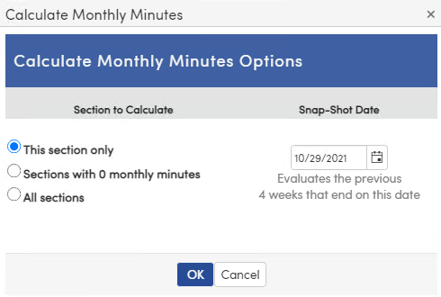 Calculate Monthly Minutes Options screen