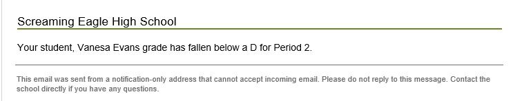 Sample Grade Alert