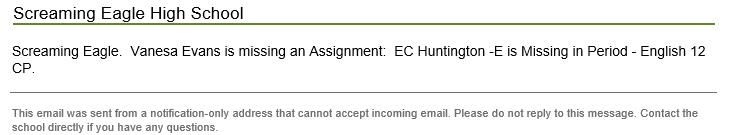 Sample Assignment missing alert