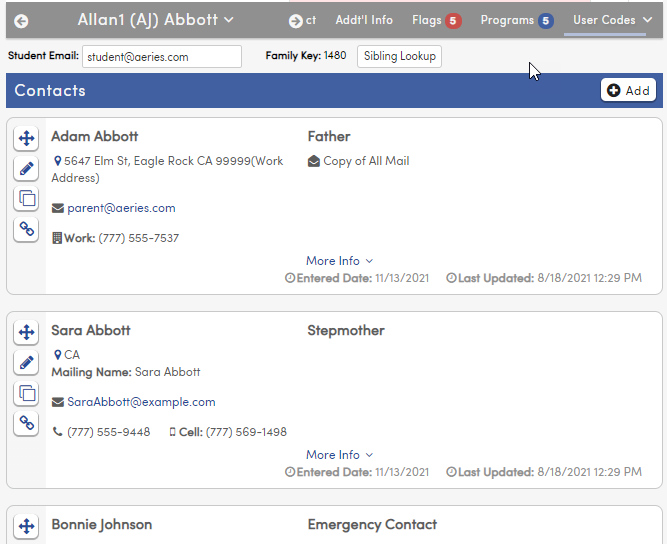 Contacts page showing Emergency contacts
