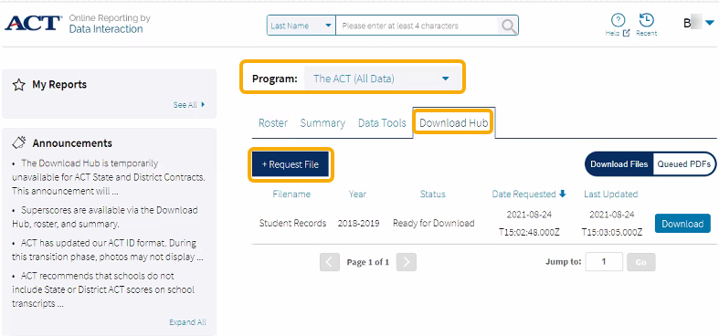 ACT Site - Select Download Hub tab and Request File