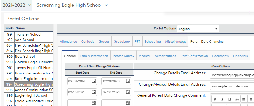 Portal Options page