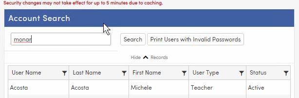 User search field