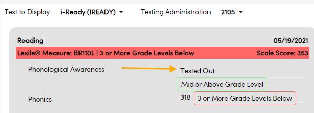 Test Details - No scale score example