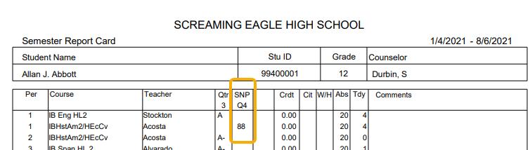 Grade Report Cards - Grading Snapshot mark