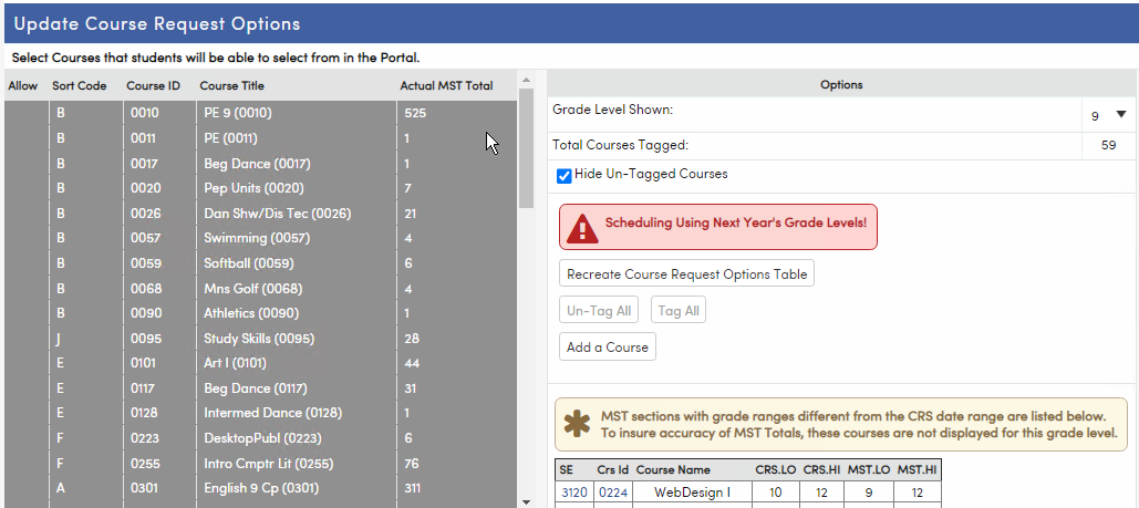 Update Course Request Options page