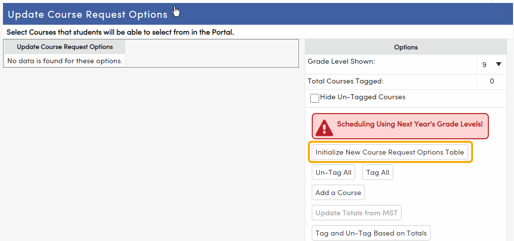 Initialize New Course Requests Table button