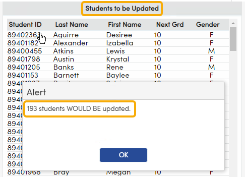 Preview List of Students who will be Updated