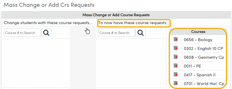 Courses in Course Request Packet can be mass added