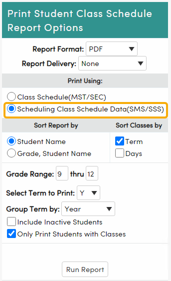 Student Class Schedule report options