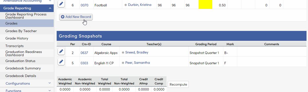 Grades - Grading Snapshots tab - California