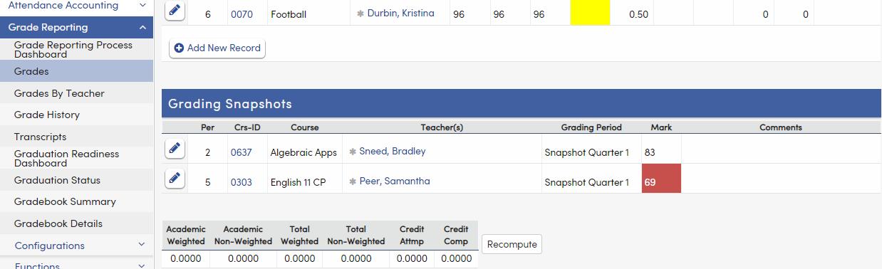 Grades - Grading Snapshots tab - Texas