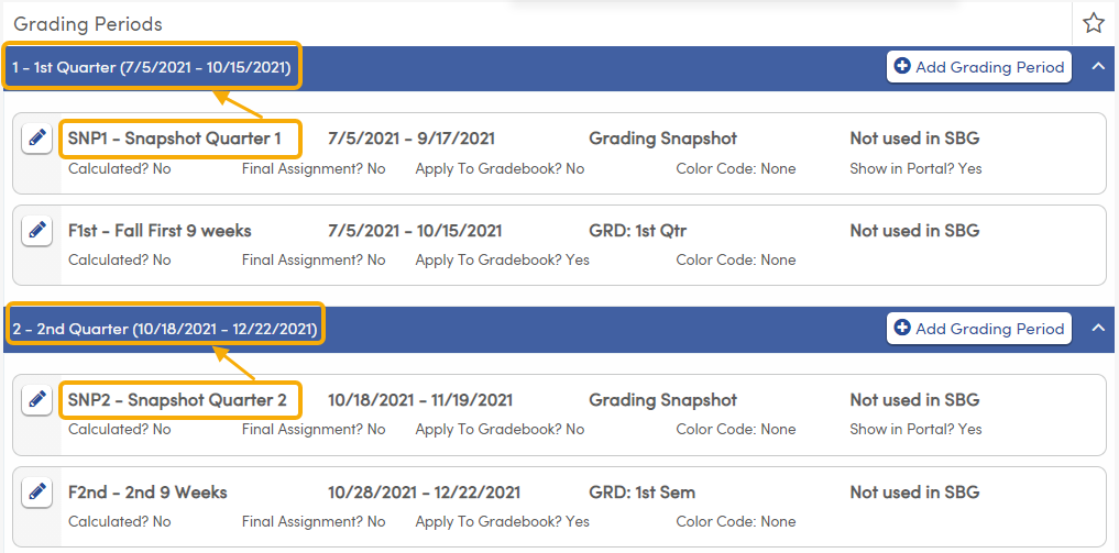 Grading Periods - define Grading Snapshots at the lowest term level