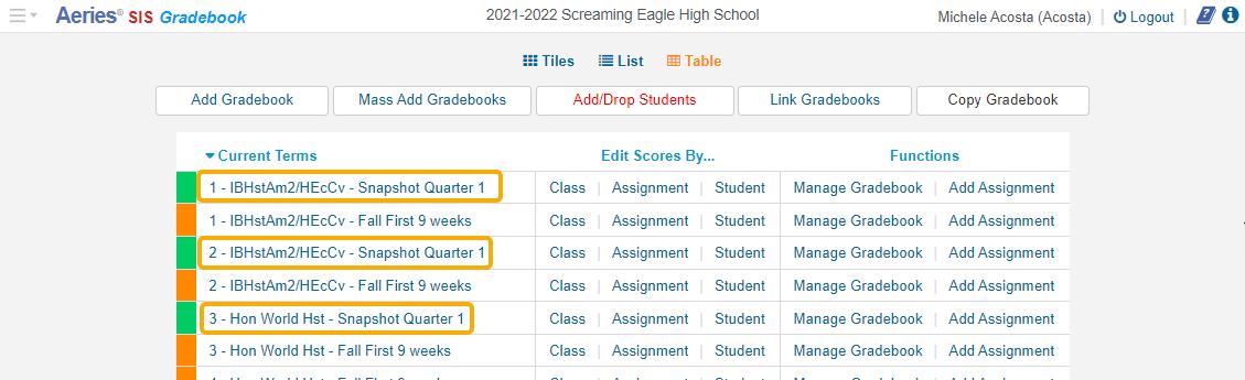 Gradebook - Snapshot Quarter 1 displays when Apply to Gradebook selected