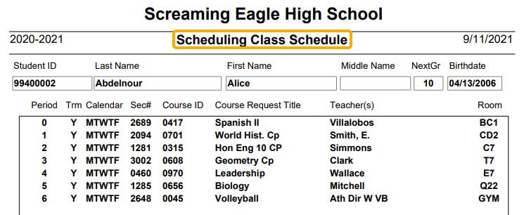 Scheduling Class Schedule Report