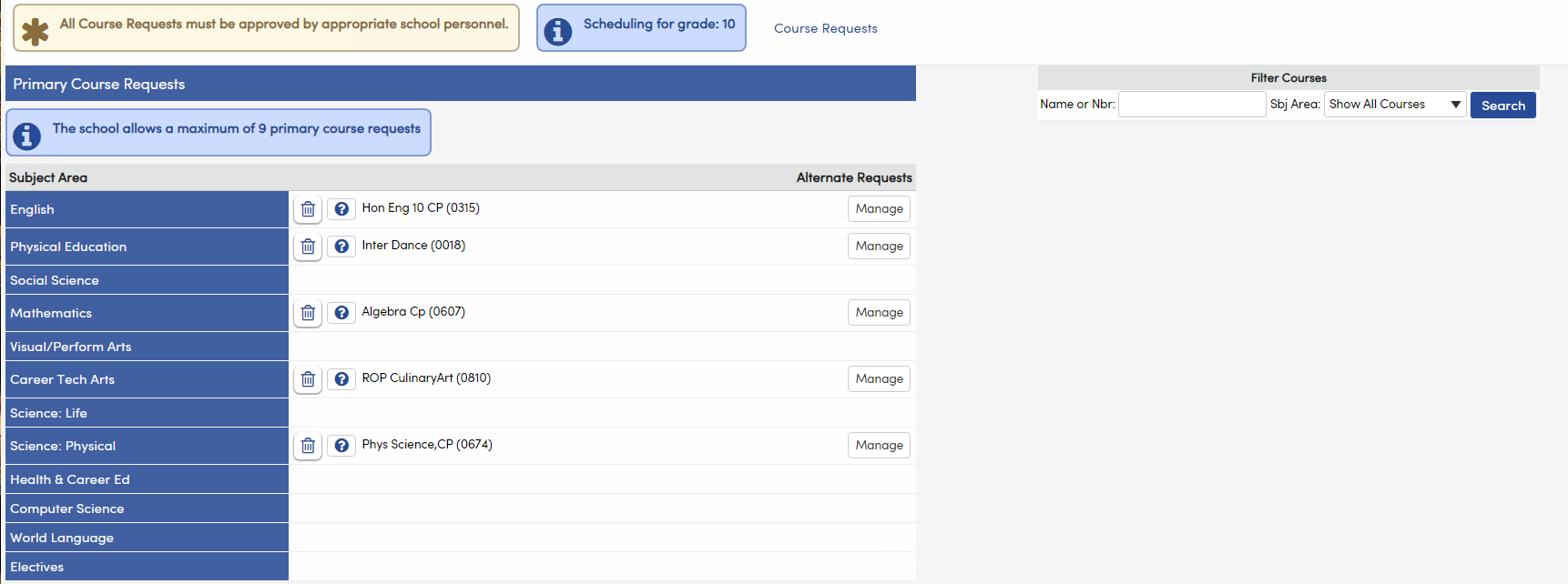 Course Requests Entry on Portal
