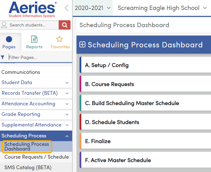 Scheduling Process Dashboard
