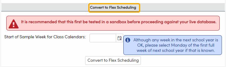 Convert to Flex Scheduling area