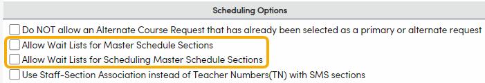 Wait Lists options