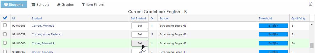 Analytics Dashboard Chart - Student list using Set